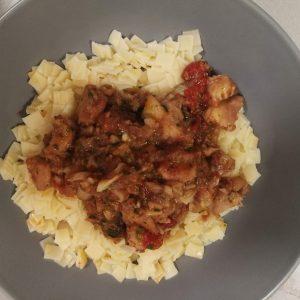 Step 8: All done. Brodet served on pasta.