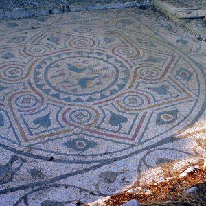 A Late Roman mosaic with bird motifs.