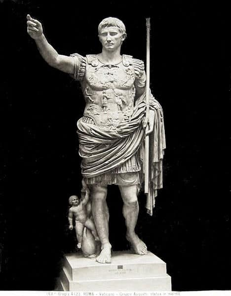19th century photograph of the Prima Porta Augustus, one of the most famous exhibits in the Vatican Museums. It was probably created after his death in AD 14.
